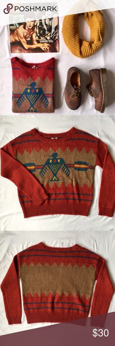 Ecote for UO   Wild West Pullover This super cozy pullover has great earthy colors and a cute western design that make it perfect for fall! Pair it with a floppy hat and some black booties for a casual-cool fall look. In Excellent Used Condition! Size Medium but would definitely fit a Small for a comfy, oversized look! Urban Outfitters Sweaters Crew & Scoop Necks