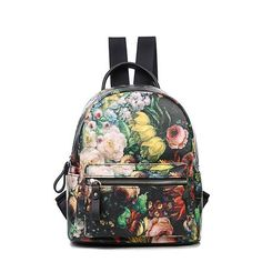 353bdee027672 Women Leather Backpacks Rose Oil Painting Printing Bags School Bag For College  Designer Ladies Backpack High Quality