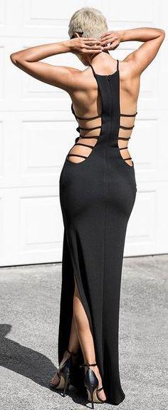 Black Strappy Open Back Maxi Dress by Micah Gianneli