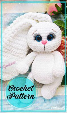 Crochet Rabbit Free Pattern, Easter Bunny Crochet Pattern, Crochet Unicorn Pattern, Crochet Stitches Free, Crochet Amigurumi Free Patterns, Crochet Animal Patterns, Stuffed Animal Patterns, Free Crochet, Stuffed Animals