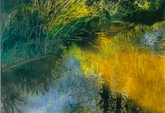 """sunlit streambank / jessie's stream (2) 16"""" x 22"""" micheal zarowsky watercolour on arches paper private collection Gouache Painting, Watercolor Paintings, Marsh Marigold, Installation Art, Art Installations, Arches Paper, Landscape Art, Ponds, Abstract"""