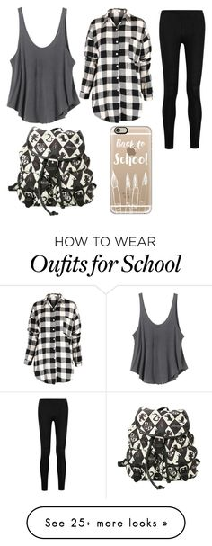 """Wear to School Flannel"" by saanjhi on Polyvore featuring RVCA, Donna Karan…"