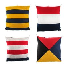 "Amazon.com: Set Of 4 Nautical Flag 14"" By 14"" Throw Pillows: Home & Kitchen"