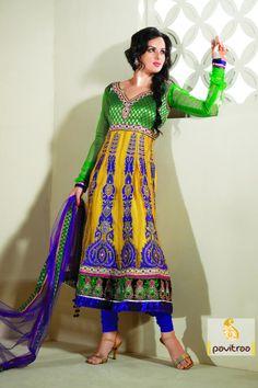 Pavitraa Gorgeous Yellow, Dark blue and Green Salwar Kameez