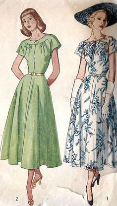 1940s Misses Dress with Sheer Overlay Neckline
