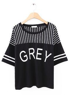 Black + Grey Striped T-Shirt