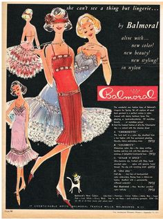 AUSTRALIAN Vintage Advertising BALMORAL LINGERIE AD  FASHION  1950's Original Ad #BALMORAL