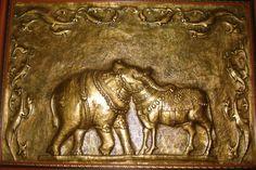 Copper sheer embossing sculpture