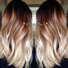 Red brown blonde balayage hairstyle