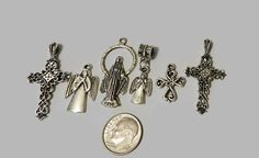 Variety of  Silver  Religious Charms 6 pieces V4911 by JacsStash
