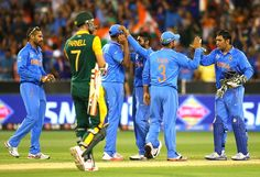 South Africa v India, 13th Match, Pool B Indian players celebrate after completing a 130-run win over South Africa.