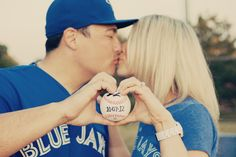 Cute save the date pic idea for baseball lovers! Baseball Engagement Photos, Engagement Couple, Engagement Pictures, Wedding Pictures, Baby Wedding, Wedding Poses, Our Wedding, Wedding Things, Wedding Ideas