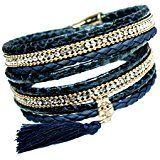 Amazon.com: Tree of Life Bracelet Fancy Jasper Beaded Leather Wrap (Silver Plated Button): Carolyn Jane's Jewelry: Jewelry