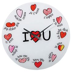 "Wall clock with words ,,I love you"" in many languages. Show love to your lovers! Home Clock, Record Wall, I Love You, My Love, Clock Decor, Heart Wall, Purple Bags, Romantic Love, Te Amo"