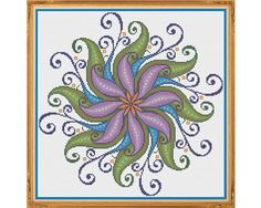 Mandala 4 - Tranquility - Counted Cross Stitch by HornswoggleStore, $5.00 (geometric, colorful, yoga, zen, rainbow, abstract, medallion)
