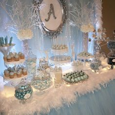 Winter Wonderland Quinceanera Candy Buffet By Bizzie Bee Creations Winter Onederland Party Girl 1st Birthdays, Winter Birthday Parties, Winter Wonderland Decorations, Winter Wonderland Birthday, Baby Shower Winter Wonderland, Sweet 16 Party Decorations, Winter Party Themes, Quinceanera Decorations, Love Is In The Air