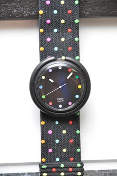 Pop Swatch Watch in Black with Polka Dots by LadyYesterday on Etsy