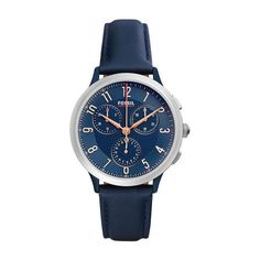 Fossil Women's 34mm Abilene Sport Chrono Watch (430 MYR) ❤ liked on Polyvore featuring jewelry, watches, sport watches, sport wrist watch, sport chronograph watches, blue jewelry and chronograph watch