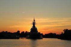Battleship Poster featuring the photograph Battleship At Sunset by Cynthia Guinn