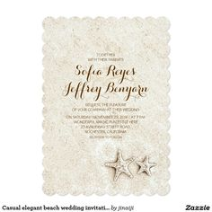 Casual elegant beach wedding invitations