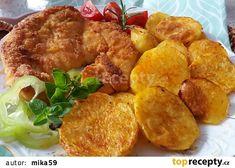 Kuřecí řízky dopékané na bramborách recept - TopRecepty.cz Meat, Chicken, Ethnic Recipes, Food, Essen, Meals, Yemek, Eten, Cubs