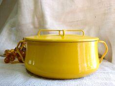 Large Dansk Kobenstyle Dutch Oven// large vintage stock pot // Bright Yellow Dansk pot