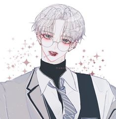 Anime W, Anime Hair, Anime Guys, Cute Anime Boy, Cute Anime Couples, Illustrations, Illustration Art, Boy With White Hair, Korean Art