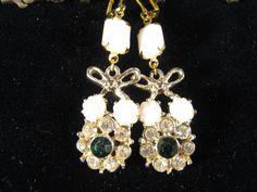 Vintage Earrings Milk Glass Rhinestones by JenniferJonesJewelry, $27.50