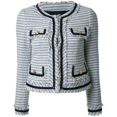 Loveless frayed edge tweed jacket ($450) via Polyvore featuring outerwear, jackets, blazers, white, multi colored jacket, colorful jackets, multi color blazer, tweed jacket and multi-color leather jackets