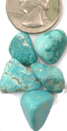 Blue Fox Turquoise Undrilled Nugget Specimens (Lot of 5), 9.7 grams