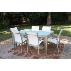 Majestic Garden Mesa y sillas de jardín Cádiz Conjunto de mesa y seis sillones de jardín Cádiz de Majestic Garden. Mesa rectangular fabricada en aluminio...