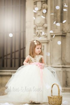 """The Ava"" Gold and Ivory Sequin Flower Girl Dress"
