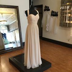 Summer Wedding Inspiration   Long Chiffon Bridesmaid Dress with Slit Size 14 (Runs Small) Neutral Bridesmaid Dresses, Bridesmaids, Strapless Dress Formal, Prom Dresses, Formal Dresses, Slit Dress, Summer Wedding, Size 14, Chiffon