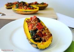 Stuffed Delicata Squash with spinach, tomato and turkey by Hungry Healthy Girl