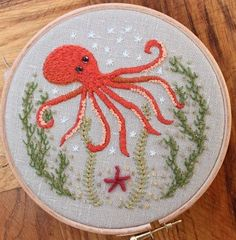 Octopus Crewel Embroidery Pattern and kit from The Floss Box an etsy shop.