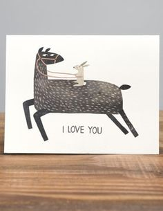 """This card is the perfect love note for your special someone. Cuz we go together like llama and rabbit. Dimensions: Measures 5.5"""" x 4.25"""" Details: Printed with soy inks on 60% tree free recycled paper."""