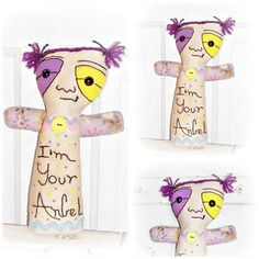 Monster Art Doll Whimsy Angel Art Stitchery  by SheCollectsICreate