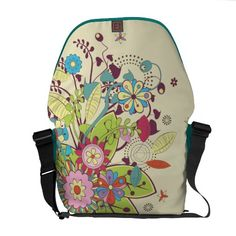 lots of flowers trendy vector courier bags  #rickshaw #flowers #spring #colors