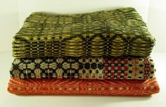 Stack of Three Early Wool and Linen Homespun Covelet Blankets