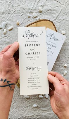 The more involved guests feel in your wedding ceremony, the more likely they are to enjoy themselves. Share the details of your wedding ceremony with your wedding program printed on high-quality paper for a perfect finishing. #weddingprograms #weddingprogram #weddingprogramcard #orderofevent #weddingtimeline #weddingpartycards #preludecards #wedocards #wedo #simpleweddingprograms #rusticweddingprograms #weddingprogramtimeline Rustic Wedding Stationery, Rustic Wedding Programs, Laser Cut Wedding Invitations, Destination Wedding Invitations, Cream Wedding, Fall Wedding, Wedding Ceremony, Wedding Messages, Wedding Timeline