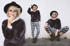 Raspberry Tartan Pants, Vintage Store Fluffy Sweater, Claire's Glasses, Atmosphere Boots