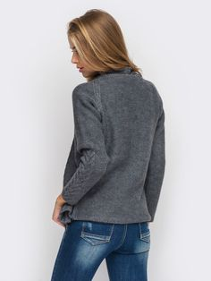 Кардиган вязаный 10346 Grey Shorts, Knitting Stitches, Knit Cardigan, Turtle Neck, Pullover, Wool, Sleeves, Shopping, Winter