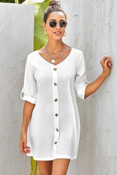 V Neck Button Front Roll up Tab Sleeve Casual White Dress Dress Outfits, Casual Outfits, Fashion Dresses, Simple Dresses, Dresses With Sleeves, Short Casual Dresses, White V Necks, Look Fashion, Latest Fashion