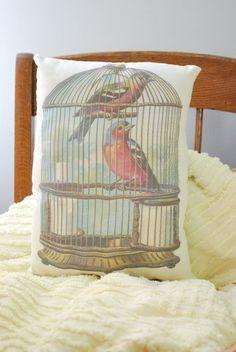 Handmade Caged Bird Accent Pillow by #shoplucilles #maineteam #homedecor #maine