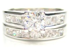 2-Pc Solitaire Diamonique 1.50Ct Wedding Sterling Silver Ring Set