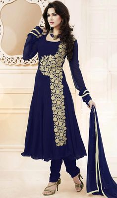 Bestow a youthful look to classic style dressed in this blue georgette embroidered Anarkali suit. This pretty attire is displaying some terrific embroidery done with butta and resham work. #AmazingFloralWorkAnarkaliSuit