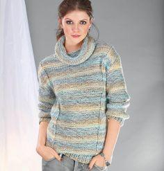 dámský ručně pletený svetr se šálovým límcem z příze Ninette df8fac5b02