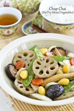 quick and easy version of Chap Chai (Stir Fry Mixed Vegetables) is suitable for every day or festive occasions. Vegetables may vary as desired. Vegetable Dishes, Vegetable Recipes, Vegetarian Recipes, Cooking Recipes, Rice Recipes, Chinese Vegetables, Fried Vegetables, Veggies, Stir Fry Mix