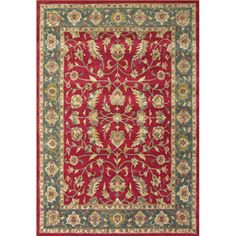 @Overstock.com - Handmade Delhi Red New Zealand Wool Rug (6' x 9') - Offering a distinctive look thats ideal for formal living and dining spaces, this luxurious handmade Delhi rug is made with 100-percent wool. In red, soft sage, gold, and ivory tones, it blends well with nearly any color design scheme.  http://www.overstock.com/Home-Garden/Handmade-Delhi-Red-New-Zealand-Wool-Rug-6-x-9/5605475/product.html?CID=214117 $224.99