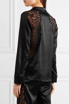 I.D. Sarrieri - Macaroon Delights Chantilly Lace-paneled Silk-blend Satin Pajama Shirt - Black - small